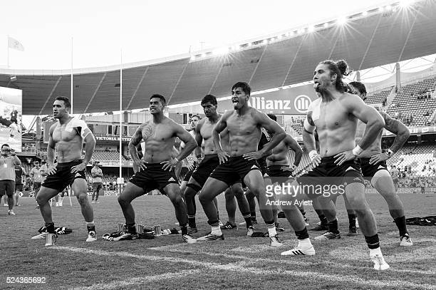 New Zealand All Blacks perform the haka after winning the 2016 Sydney Sevens Cup Final match between Australia and New Zealand at Allianz Stadium in...