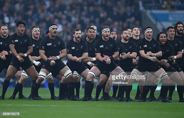 New Zealand All Blacks perform the Haka with Jerome Kaino Kieran Read and Richie McCaw in the front row before the Rugby World Cup 2015 SemiFinal...