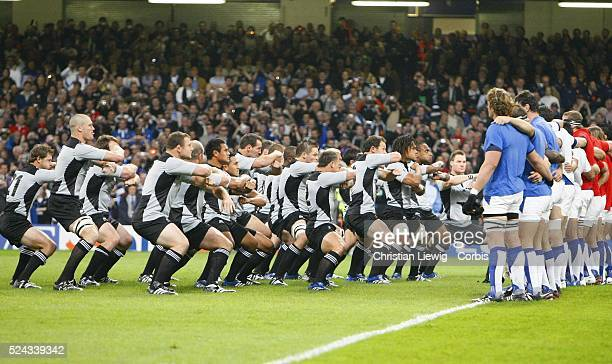 New Zealand All Blacks perform their Haka in front of French players before the IRB World Cup rugby quarter final between New Zealand and France