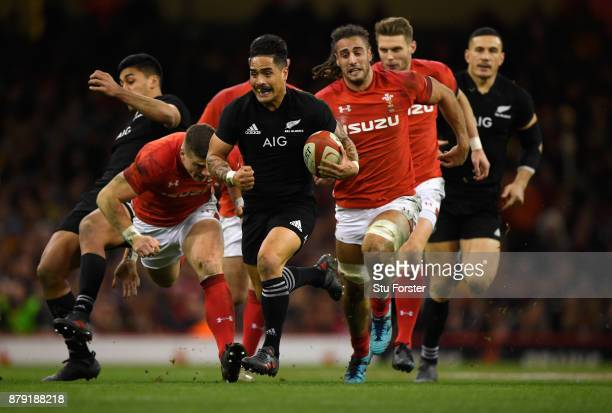 New Zealand All Blacks player Aaron Smith in action during the International match between Wales and New Zealand at Principality Stadium on November...