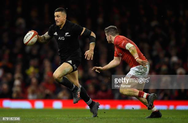 New Zealand All Blacks player Sonny Bill Williams in action during the International match between Wales and New Zealand at Principality Stadium on...