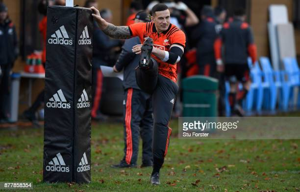 New Zealand All Blacks player Sonny Bill Williams warms up during training prior to Saturday's International against Wales at Sophia Gardens on...