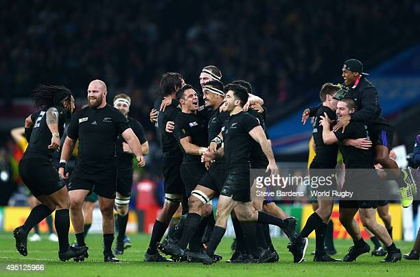 New Zealand All Blacks players celebrate after winning the 2015 Rugby World Cup Final match between New Zealand and Australia at Twickenham Stadium...
