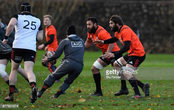 New Zealand All Blacks players Patrick Tuipulotu and Sam Whitlock chase down the ball during training prior to Saturday's International against Wales...