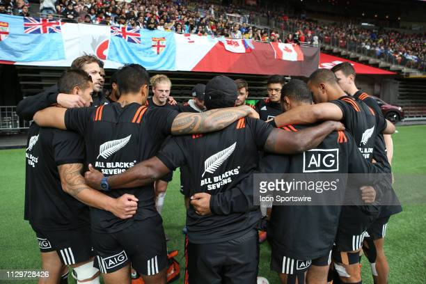 New Zealand All Blacks prepare to take the pitch for a match against Team Argentina during day 2 of the 2019 Canada Sevens Rugby Tournament on March...