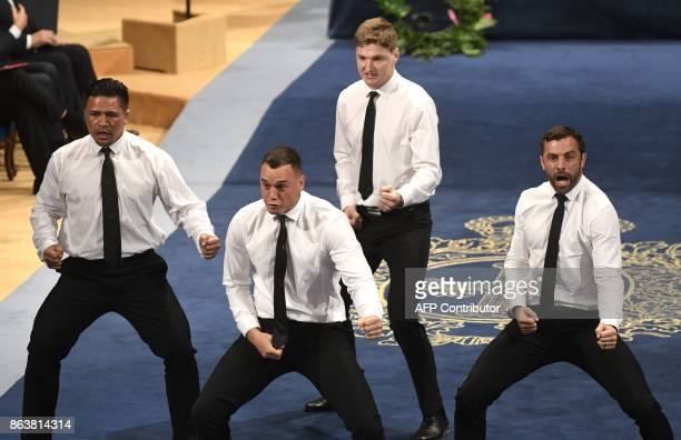 New Zealand All Blacks rugby players Keven Mealamu Israel Dagg Jordie Barrett and Conrad Smith perform the haka after receiving the 2017 Princess of...