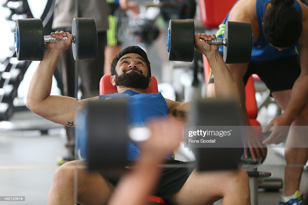 New Zealand All Blacks Sevens player Sherwin Stowers in the gym during the New Zealand Commonwealth Games Rugby Sevens Media Opportunity at Next Generation Gym on July 14, 2014 in Auckland, New Zealand.