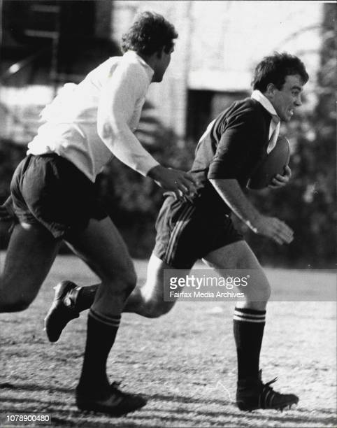 New Zealand All Blacks training at St Johns OvalLeicester Rutledge with ball Andy Haden in support July 25 1979