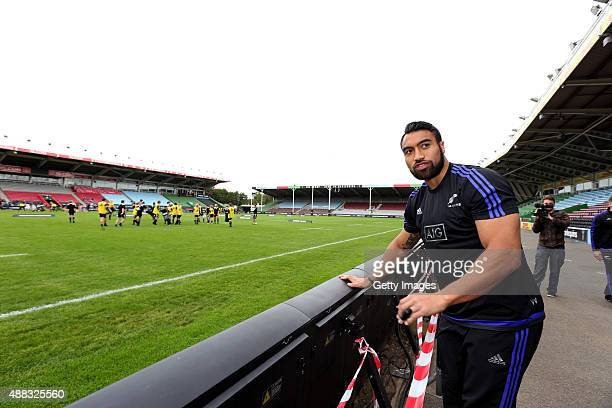 New Zealand All Blacks Victor Vito taking part at the adidas #ForceOfBlack event at Harlequin's Twickenham Stoop on September 13 2015 in LondonEngland