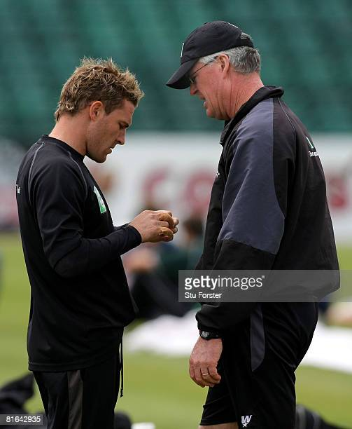 New Zealand all rounder Brendon McCullum listens to coach John Bracewell during New Zealand nets today ahead of tomorrows third NatWest One Day...