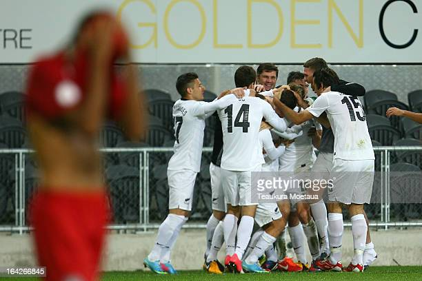 New Zealand All Whites celebrate a goal during the FIFA World Cup Qualifier match between the New Zealand All Whites and New Caledonia at Forsyth...