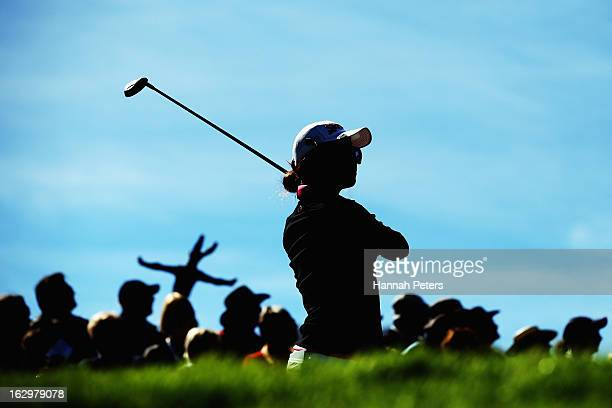 New Zealand amateur player Lydia Ko tees off during day four of the New Zealand PGA Championship at The Hills Golf Club on March 3 2013 in Queenstown...
