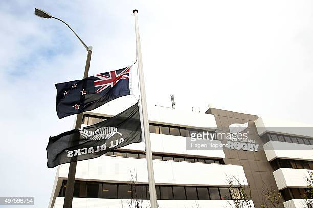 New Zealand and All Blacks flags fly at halfmast outside New Zealand Rugby Union headquarters following All Black legend Jonah Lomu's death on...