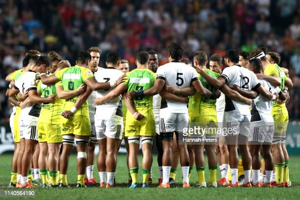 New Zealand and Australia huddle together in memory of the victims of the Christchurch Mosque shootings on day one of the Cathay Pacific/HSBC Hong...