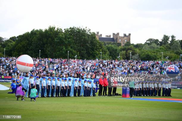 New Zealand and England line up for the national anthems during the Group Stage match of the ICC Cricket World Cup 2019 between England and New...