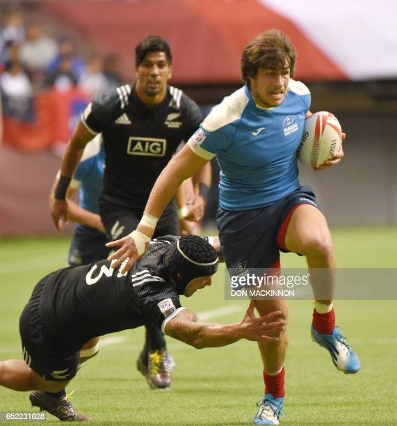 New Zealand and Russia battle for a win during the HSBC Canada Sevens Vancouver tournament at BC Place Stadium in Vancouver March 11th 2017 New...