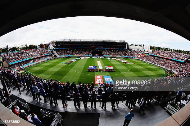 New Zealand and South Africa sing the national anthem prior to the 2015 Cricket World Cup Semi Final match between New Zealand and South Africa at...