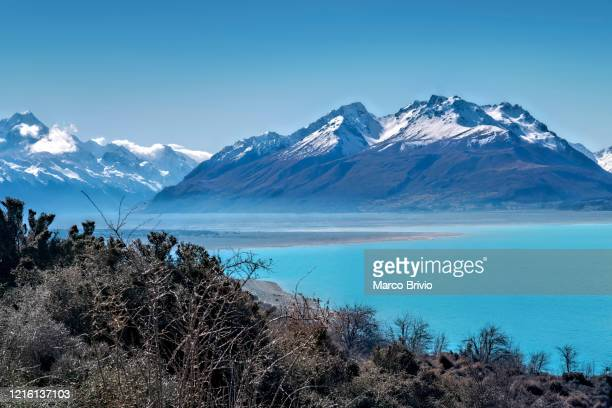 new zealand. aoraki mount cook national park. view of lake pukaki - marco brivio stock pictures, royalty-free photos & images