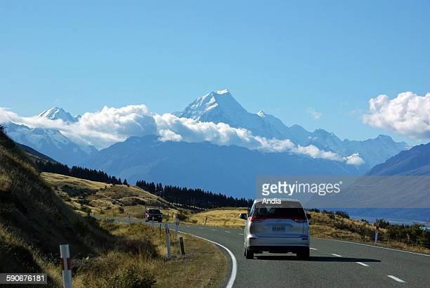 New Zealand Aoraki/Mount Cook peak of New Zealand in the New Zealander Alps Here seen from the road leading Mount Cook Village located at the bottom...