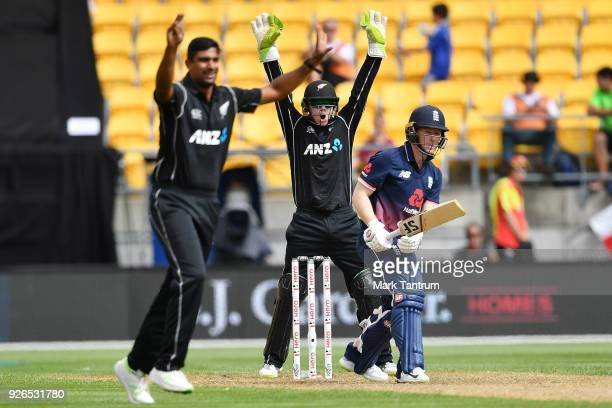New Zealand appeal England player Eoin Morgan during game three of the One Day International series between New Zealand and England at Westpac...
