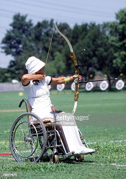 Olympic Games Los Angeles USA Women's Archery New Zealand's Neroli Fairhall in action