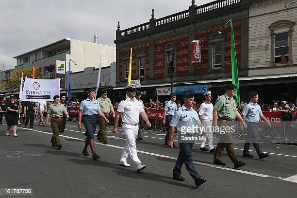 New Zealand Army Navy and Air Force participate in the Pride parade on February 16 2013 in Auckland New Zealand The gay parade celebrating lesbian...