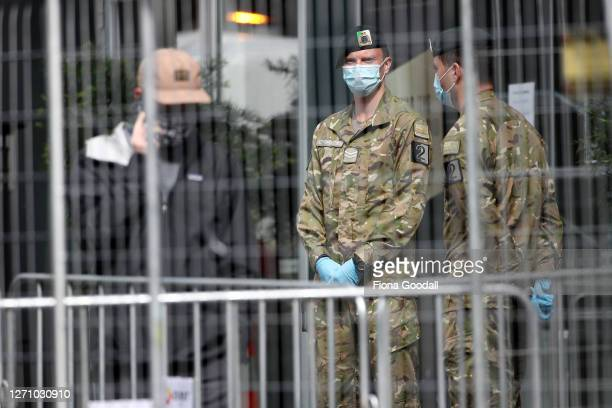 New Zealand Army personal guard the front of the Rydges Hotel in Auckland's CBD which is used as a Covid-19 isolation facility on September 07, 2020...