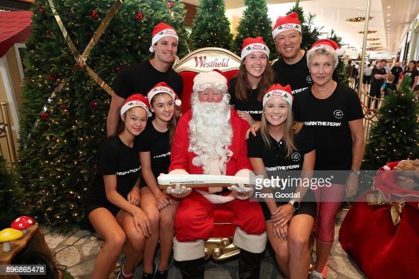 New Zealand athletes visit Santa at Westfield Albany Mall with the Queens Baton during the Queens Baton Commonwealth Games Relay on December 22 2017...