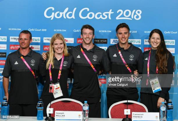 New Zealand Athletics team members Jeremy McColl Angie Petty Joseph Millar Cameron French and Eliza McCartney during a press conference on day four...