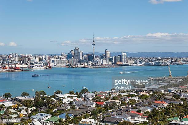New Zealand, Auckland, Skyline, City Center, Central Business District, Sky Tower, District Devenport in the foreground