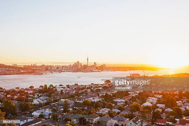 New Zealand, Auckland, Skyline with Sky Tower at sunset