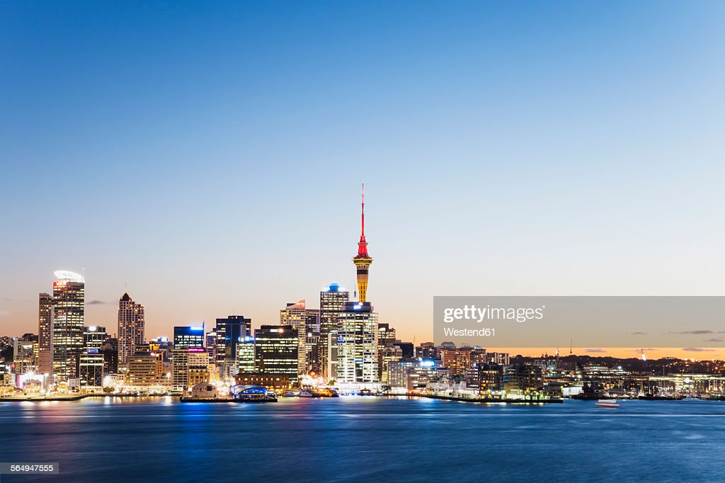 New Zealand, Auckland, Skyline with Sky Tower, blue hour : Stock Photo
