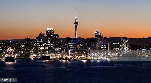 New Zealand, Auckland, View of city and harbor
