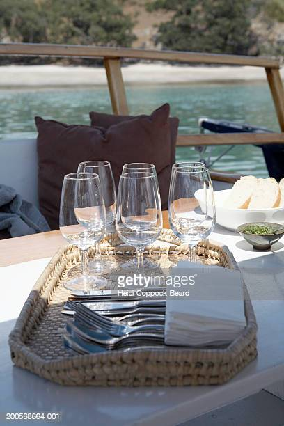 new zealand, auckland, waiheke island, table setting on yacht,close-up - heidi coppock beard fotografías e imágenes de stock