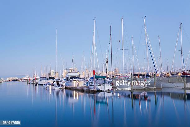 New Zealand, Auckland, Westhaven Marina, blue hour