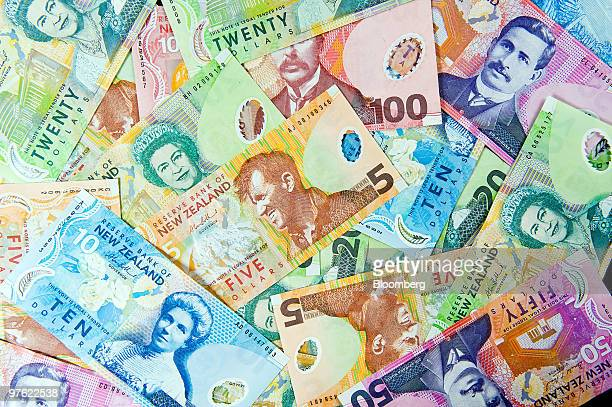 New Zealand banknotes in various denominations are arranged for a photograph in Wellington New Zealand on Thursday March 11 2010 The currency fell...