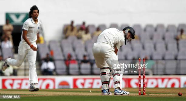 New Zealand batsman Andy McKay is bowled by India bowler Ishant Sharma on the second day of the third test match between India and New Zealand at...