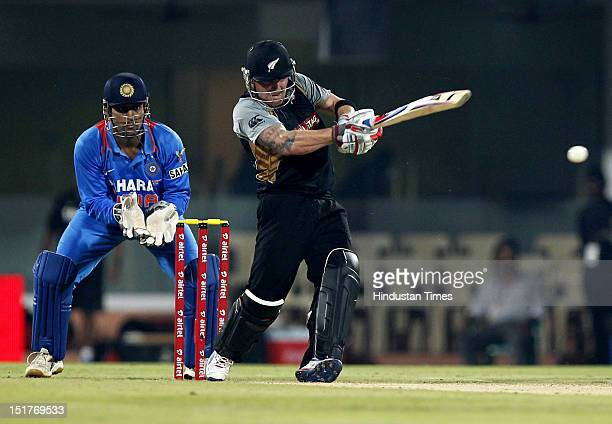 New Zealand batsman Brendon McCullum after completing his half century during the second T20 cricket match played between India and New Zealand at MA...