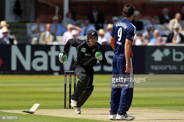 New Zealand batsman Brendon McCullum sets off for a run after dropping his broken bat which snapped in half during the fifth NatWest One Day...