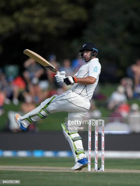 New Zealand batsman Colin de Grandhomme hits out during day two of the Second Test Match between the New Zealand Black Caps and England at Hagley...