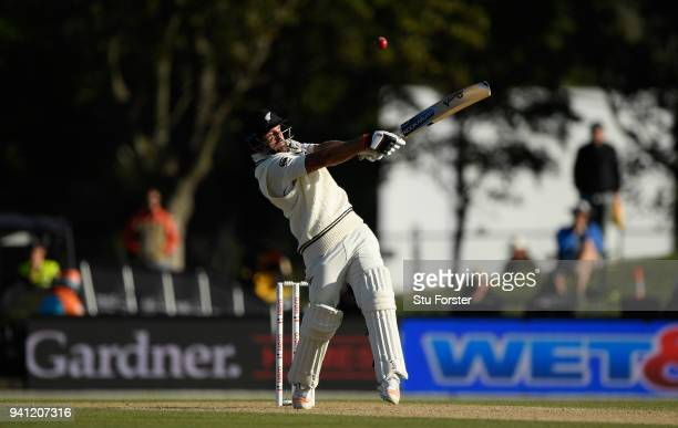 New Zealand batsman Colin de Grandhomme hits out only to be caught by Jack Leach off the bowling of Mark Wood during day five of the Second Test...