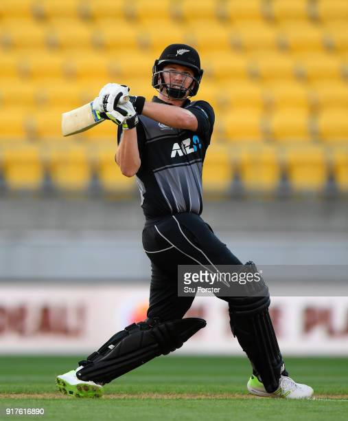 New Zealand batsman Colin Munro hits out during the International Twenty20 match between New Zealand and England at Westpac Stadium on February 13...