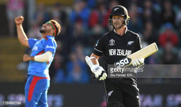 New Zealand batsman Colin Munro leaves the field after being dismissed by Afghanistan bowler Aftab Alam during the Group Stage match of the ICC...