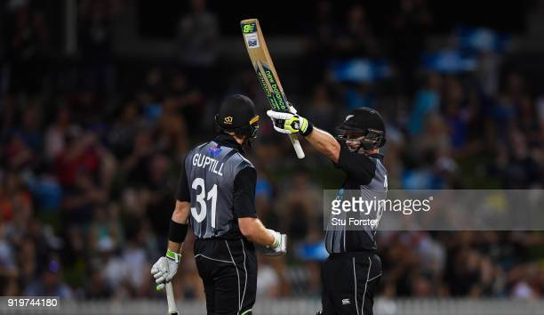 New Zealand batsman Colin Munro reaches his 50 during the International Twenty20 match between New Zealand and England at Seddon Park on February 18...