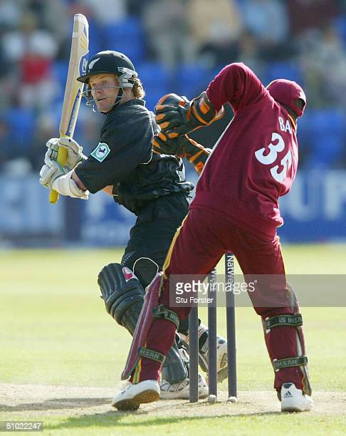 New Zealand batsman Hamish Marshall hits out during his half century in the 6th Natwest Series game between New Zealand and the West Indies at Sophia...