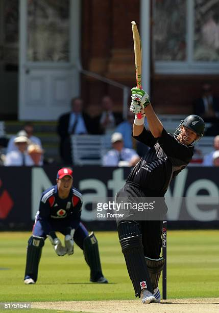 New Zealand batsman Jacob Oram hits out during the fifth NatWest One Day International between England and New Zealand at Lords on June 28 2008 in...