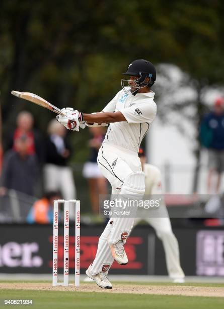 New Zealand batsman Jeet Raval pulls a Mark Wood delivery to the boundary during day four of the Second Test Match between the New Zealand Black Caps...