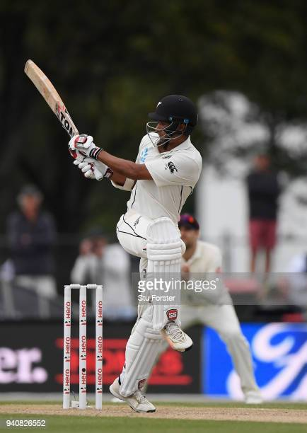 New Zealand batsman Jeet Raval pulls a Stuart Broad delivery towards the boundary during day four of the Second Test Match between the New Zealand...