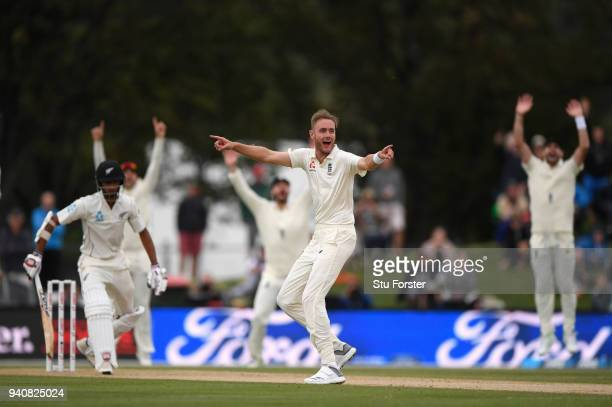 New Zealand batsman Jeet Raval survives a confident appeal from Stuart Broad during day four of the Second Test Match between the New Zealand Black...