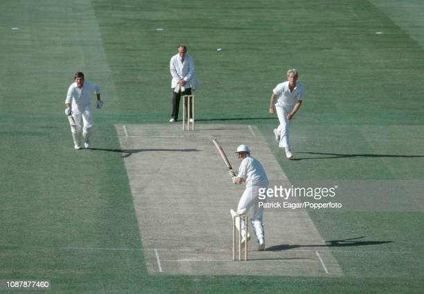 New Zealand batsman Jeremy Coney plays a leg glance off a delivery from England bowler Graham Dilley during the Prudential World Cup group match...